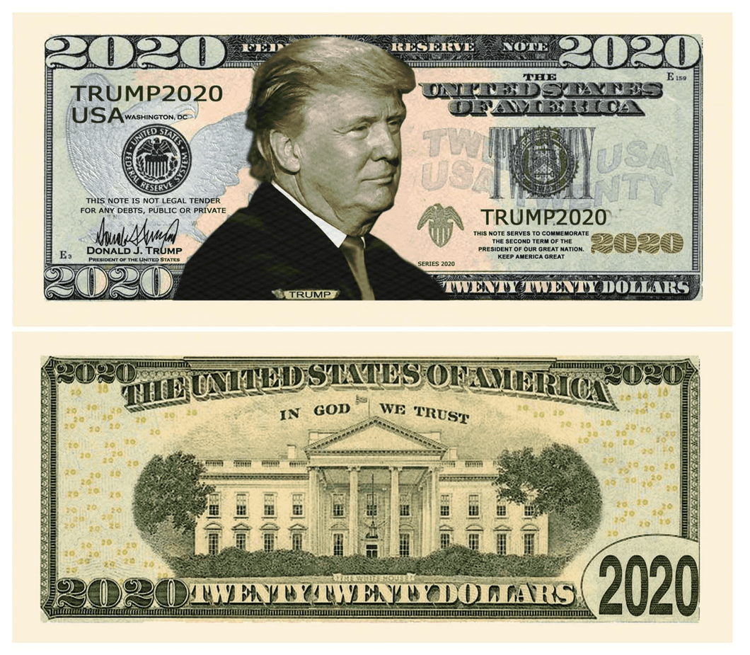 Donald Trump 2020 Presidential Dollar Bill with Currency Holder - Trump Mug