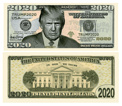 Donald Trump 2020 Serious Business Presidential Dollar Bill with Currency Holder - Trump Mug