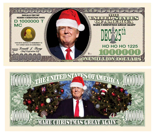 Donald Trump Merry Christmas Santa Presidential Million Dollar Bill with Currency Holder - Trump Mug