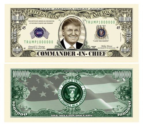 Donald Trump Commander-In-Chief MAGA Presidential Million Dollar Bill with Currency Holder - Trump Mug