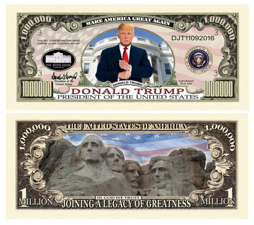 Donald Trump MAGA Legacy Greatness Presidential Million Dollar Bill with Currency Holder - Trump Mug