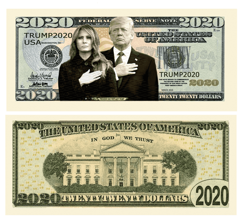 Donald Trump Melania 2020 First Couple Presidential Dollar Bill with Currency Holder - Trump Mug