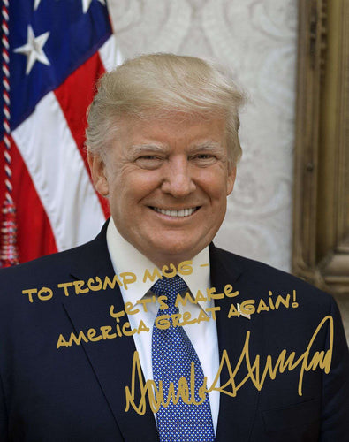 Donald Trump Flag Custom Name MAGA Gold Autograph 8x10 Photo - Trump Mug