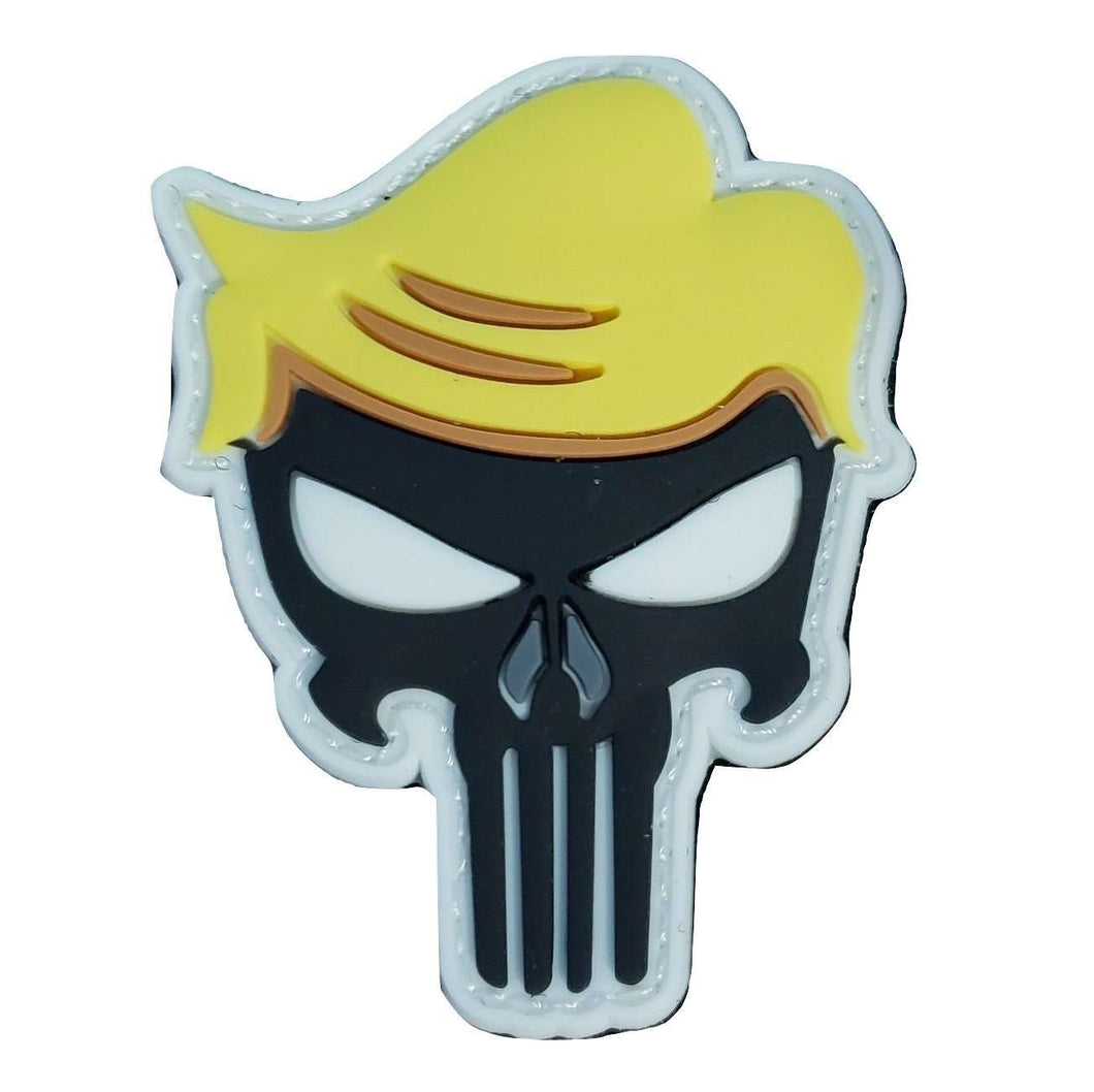 Donald Trump Hair Punisher Skull Glow in the Dark Hook & Loop Patch - Trump Mug