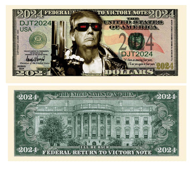 Trumpinator Donald Trump 2024 President Dollar Bill with Currency Holder