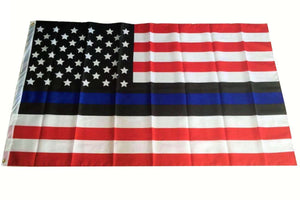 USA Thin Blue Line Flag (Red, White, Black, Blue) American Flag for Police Law Enforcement 3x5 Feet Banner Flag - Trump Mug
