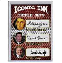 Load image into Gallery viewer, Trump Reagan Washington Facsimile Signature Presidential Autograph Card - Trump Mug