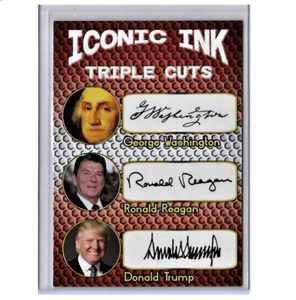 Trump Reagan Washington Facsimile Signature Presidential Autograph Card - Trump Mug