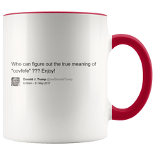 "Load image into Gallery viewer, Trump Tweet - Meaning of ""Covfefe"" MAGA Mug - Trump Mug"