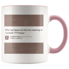 "Load image into Gallery viewer, Trump Tweet - Meaning of ""Covfefe"" with House Background MAGA Mug - Trump Mug"
