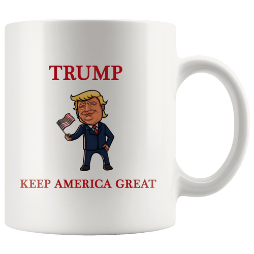 Trump Waving Flag Keep America Great MAGA Mug - Trump Mug