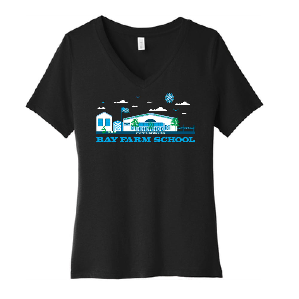 BAY FARM SCHOOL SCAPE WOMENS V-NECK T-SHIRT  2018/2019