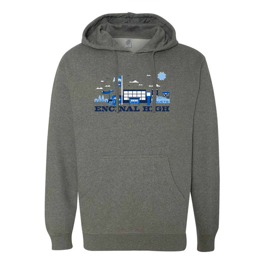 ENCINAL HIGH SCHOOL CITYSCAPE ADULT PULLOVER HOODIES