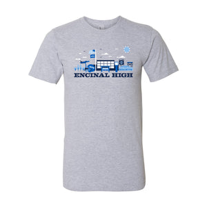 ENCINAL HIGH SCHOOL CITYSCAPE ADULT T-SHIRTS