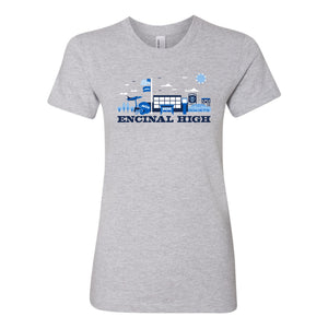 ENCINAL HIGH SCHOOL CITYSCAPE WOMENS T-SHIRT