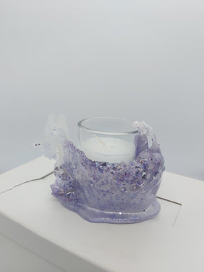 sculpted resin candle holder 2 in lavender