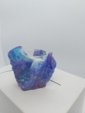 sculpted resin candle holder 6 in purple