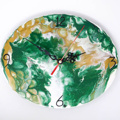 Beautiful Acrylic Pour Clock in green, white, gold and gray