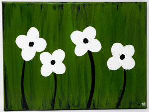 Simple Daisies - Set of 4, 9x12 canvases