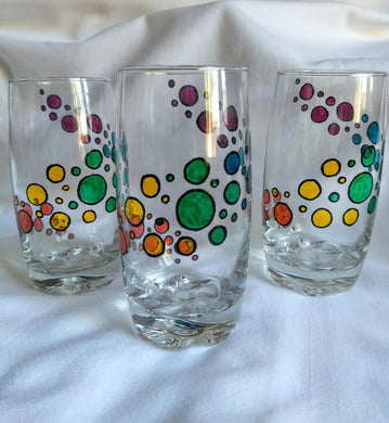 Set of 3 hand painted tumblers