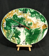 Load image into Gallery viewer, Beautiful Acrylic Pour Clock in green, white, gold and gray