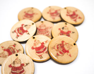 Laser-Cut Wooden Resin Santa Christmas Ornament
