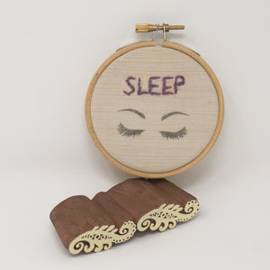 Sleep and eyes printed on cotton