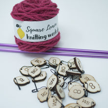 Load image into Gallery viewer, cake of yarn, stitch markers, preloved needles
