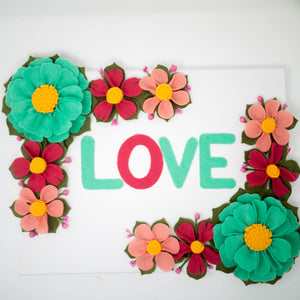 Canvas Love Sign With Felt Flowers