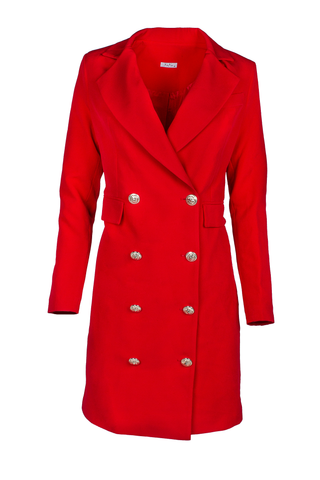 XaXa - Royal Red Classic Midi Double Buttoned Blazer