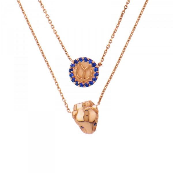 YC Panther Heads Necklace Rose Gold