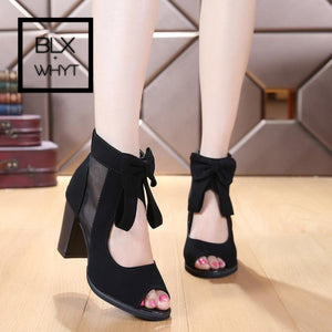 2016 Roman New Female Summer Suede Mesh Peep Toe Pu Chunky High Heels Pumps Bowknot Back Zipper