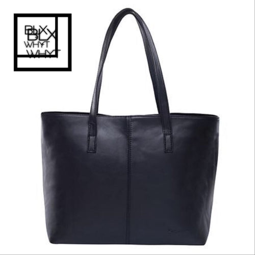 All Match Fashion Leather Handbag Simple Style Shoulder Bags For Women Gray /black Large Capacity