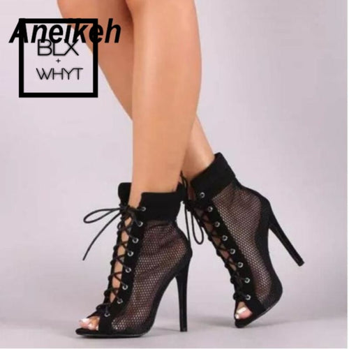 Aneikeh New Fashion Women Mesh Ankle Gladiator Sandals Boots High Heel Short Sexy Open Toe Lace-Up