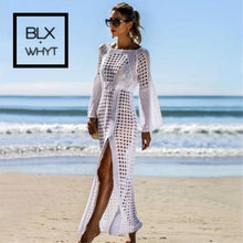 Load image into Gallery viewer, Beach Skirt Hollow Knitted New Sexy Long Sleeve Holiday Bikini Jacket Sunscreen Shirt Fashion