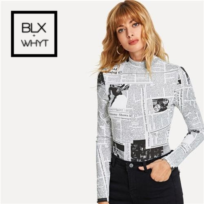 Black And White Casual Newspaper Print Stand Collar Long Sleeve Highstreet Tee 2018 Autumn