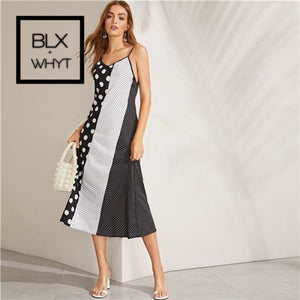 Black And White Color-Block Cut-And-Sew Polka Dot Trapeze Summer Cami Dress Women Straight Slip