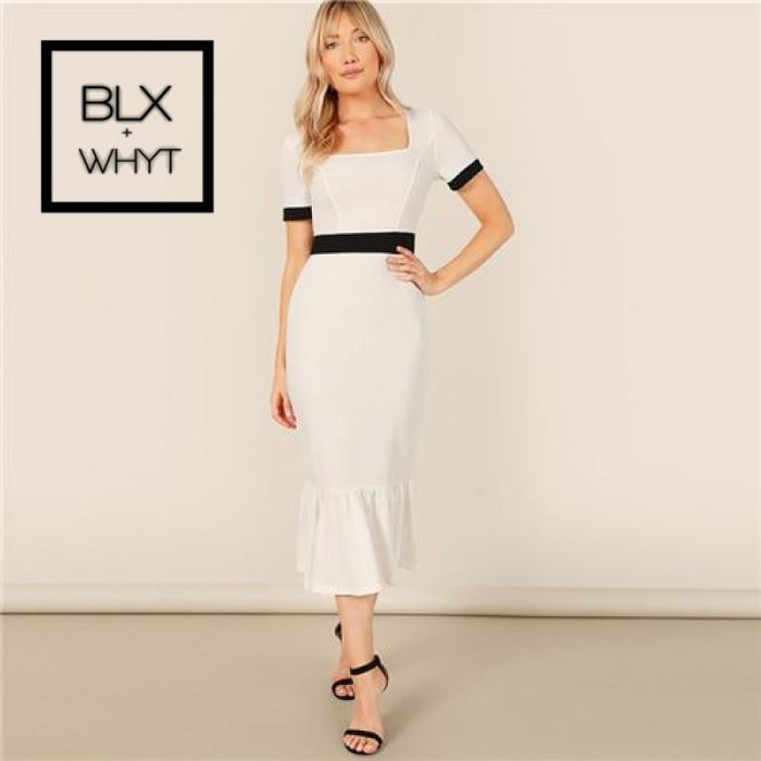 Black And White Contrast Panel Ruffle Hem Pencil Dress Elegant Plain Sheath Square Neck Summer Slim