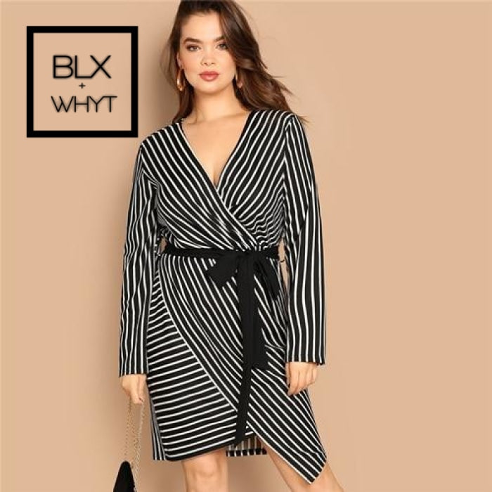 Black And White Plus Size Deep V Neck Striped Dress Asymmetrical Hem Women Workwear Going Out