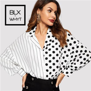 Black And White Striped Polka Dot Mixed Long Dolman Sleeve Button Placket Blouse Women 2019 Spring