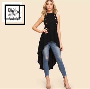 Black Elegant Party Double Button Asymmetrical Embellished Dip Hem Shell Round Neck Blouse Summer