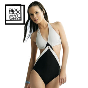 Black White Joint Color Push Up Padded Monokini One-Piece Bikini Swimsuit Triangle Swimwear Halter