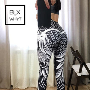 Chrleisure Honeycomb Skull Fitness Legging Solid Color Sexy Fashion Print Leggings Polyester Wings