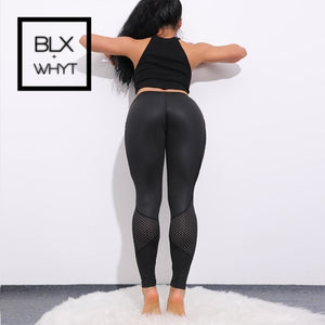 Chrleisure Pocket Mesh Workout Leggings Women Sexy Activewear Push Up Pant Elastic Heart-Shaped High