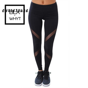 Chrleisure Sexy Women Leggings Gothic Insert Mesh Design Trousers Pants Big Size Black Capris