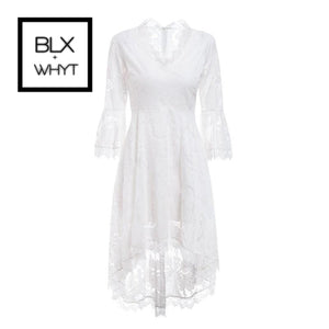 Conmoto Lace White Dress Women Hollow Out Embroidery Flare Sleeve Vintage Party Dresses Feminino