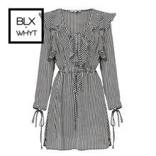 Load image into Gallery viewer, Conmoto White Black Stripe Flounce Short Dress Women Long Sleeve Autumn Winter Dresses Sexy Party