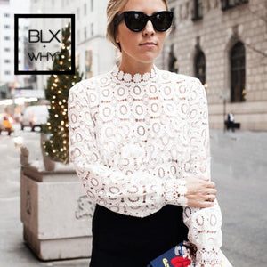 Elegant Floral Lace Blouse Shirt Women Lantern Sleeve White Spring Summer Hollow Out Tops Blusas