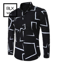 Load image into Gallery viewer, Fashion Casual Slim Geometric Print Long Sleeve Shirt Men Business Social White Top Clothes Black /