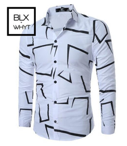 Fashion Casual Slim Geometric Print Long Sleeve Shirt Men Business Social White Top Clothes / Xl